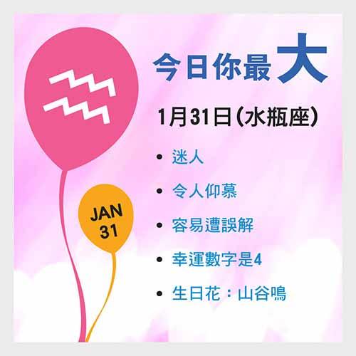 1月31日生日密碼